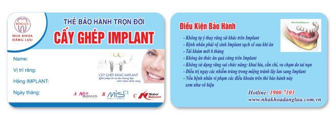 Thẻ bảo hành implant